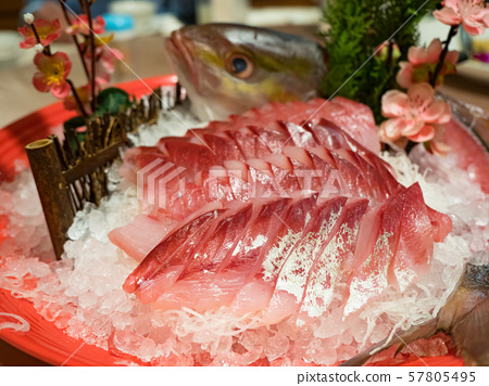 japanese foods sashimi (raw sliced fish) 57805495