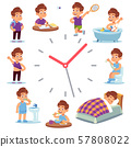 Daily routine clocks. Daily routine clocks. Schedule of happy boy life from morning breakfast at 57808022