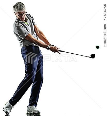 senior man golfer golfing shadow silhouette isolated white background 57816756