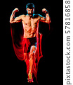 topless muscular man runner. running jogger jogging isolated black background 57816858