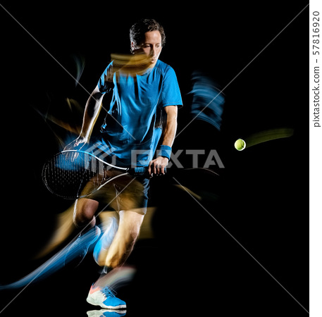 tennis player man isolated black background light painting speed motion 57816920