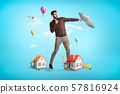 Giant young man with two small houses at his feet, standing in half-turn and fighting a UFO. 57816924