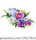 Bouquet floral botanical flowers. Watercolor background set. Isolated bouquets illustration element. 57817819