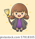 Girl wearing witch dress holding magic broom 57818305