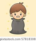 Boy wearing dracula halloween costume 57818308