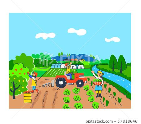 농업 과수원과 밭과 비닐 하우스 57818646