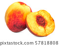 Nectarine fruit and its cross-section 3d rendering 57818808