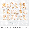 Set of doodle sketch christmas socks on white glowing background. 57820211