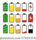 Icon set of battery level indicators 57820358