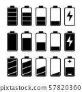 Icon set of battery level indicators 57820360