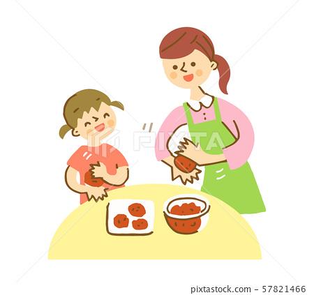 父母和孩子製作漢堡 57821466