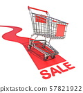 Shopping cart with text SALE 3D 57821922