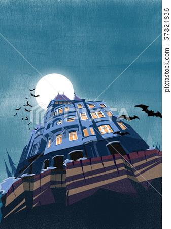 한밤중의 양옥과 박쥐 57824836