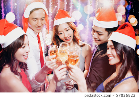 Young group having fun at New Year's and christmas 57826922