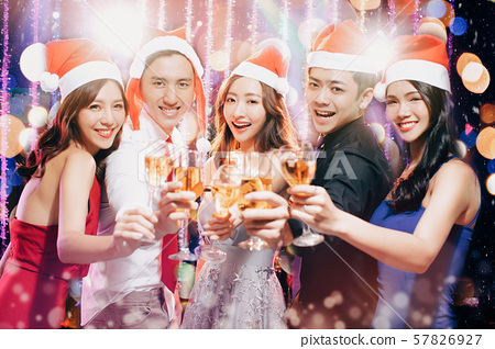 Young group having fun at New Year's and christmas 57826927