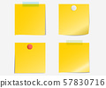 Post note label dark yellow paper sticky tape white and red thumb tacks set on gray background with shadow - Vector Illustration 57830716