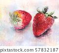 草莓,柿子,水彩 57832187