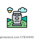 Vector Easter Island, Chile, landmark flat color line icon. 57834940