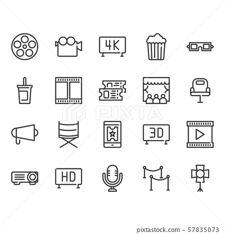 Cinema icon set.Vector illustration 57835073