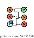 Vector correct solution, maze, algorithm, block schemes flat color line icon. 57835358