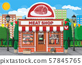 Vintage butcher shop store facade with storefront. 57845765