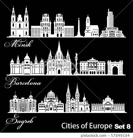 City in Europe - Barcelona, Zagreb, Minsk. Detailed architecture. Trendy vector illustration. 57849184