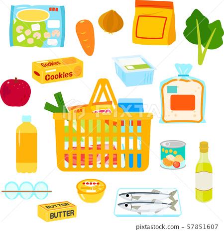 다양한 식료품 및 장바구니 57851607