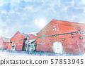 Hokkaido summer Hakodate Kanemori red brick warehouse in the early morning 57853945
