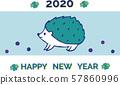 新年賀卡刺猬淺藍色回簡單 57860996