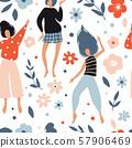 Funny dancing girls seamless pattern 57906469