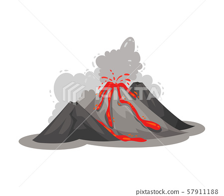 Volcano eruption. Vector illustration on a white background. 57911188