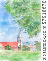 홋카이도의 여름 풍경 하코다테 가톨릭 모토마치 교회 57918670