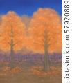 Autumnal trees, vermilion, starry sky 57920889