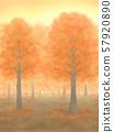 Autumnal trees, vermilion, sunset, or sunrise 57920890