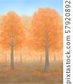 Autumnal trees, vermilion, sunny weather 57920892