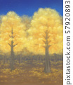 Autumn leaves trees, golden, starry sky 57920893