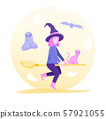 Happy Halloween, cute cartoon character costume witch.  57921055