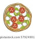 Pizza with tomatoes, cheese and basil. Vintage graphics. 57924901