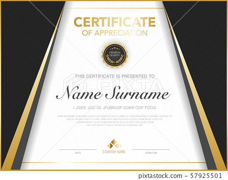 diploma certificate template black and gold color with luxury and modern style vector image, suitable for appreciation.  Vector illustration. 57925501