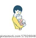 엄마와 아기 포옹 핑크 57926648