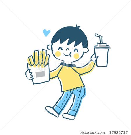 男孩吃快餐 57926737