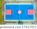 Aerial view of a basketball court 57927052
