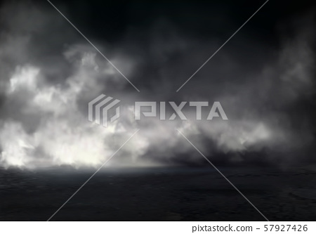 Thick night fog on river realistic 57927426