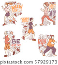 Running People Set with Lettering in Hand Drawn Doodle Style 57929173