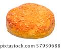 Hamburger bun with sesame, 3D rendering 57930688