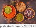 Assortment  of Legumes - lentils, peas, mung, 57930933