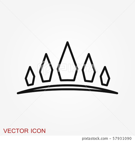 Vector Diadem icon in flat style. Royalty crown 57931090