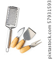 Hand cheese grater and cheese knifes. 57931593