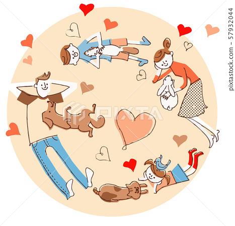家庭和寵物躺在 57932044