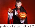 happy Halloween!  bearded man in a Dracula vampire 57932125